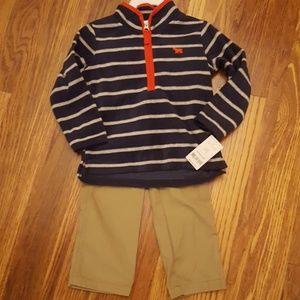 NWT Carter's 2 Piece Fleece & Khakis